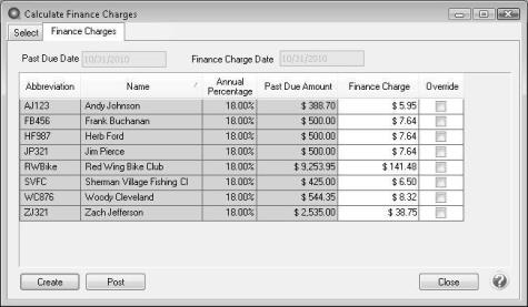 centerpoint accounting setup and processing finance charges