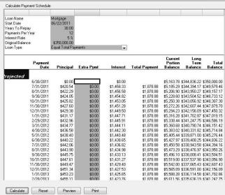 click calculate and the amortization schedule will be displayed on the screen