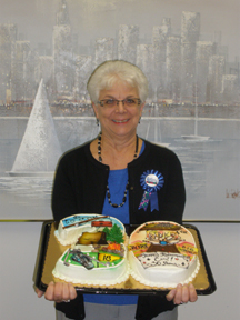 Carol Dicke with her retirement cake